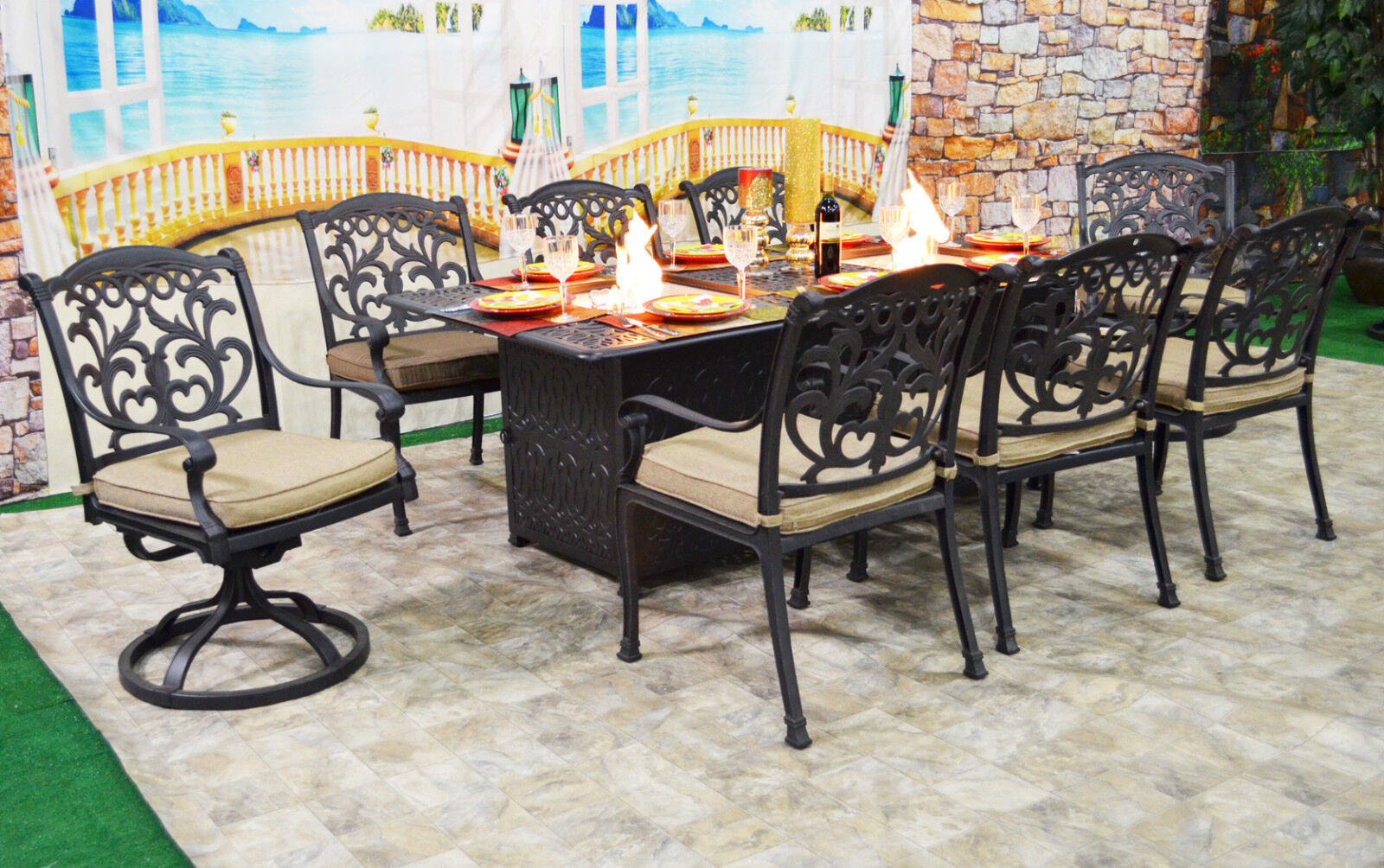 Patio Dining Table With Built In Fire Pit 9 Piece Set Outdoor Furniture For Online
