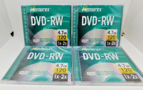 Lot of 4 Memorex DVD-RW 4.7 GB 120 Minute Video, BRAND NEW and SEALED