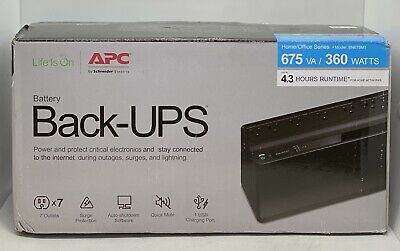 APC BN675M1 Battery Back-UPS Tower 675VA 7 Outlet 1 USB 360 Watts Protect Power