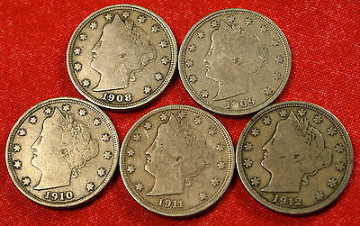 1908-09-10-11-12 LIBERTY V NICKEL F  QUALITY COLLECTOR- 5 COINS LN380
