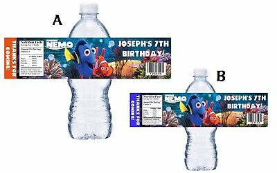 10 FINDING NEMO PERSONALIZED BIRTHDAY PARTY FAVORS WATER BOTTLE LABELS WRAPPERS