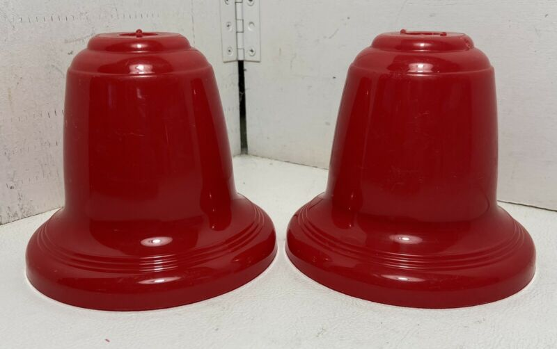 """vtg Christmas Lot of 2 LARGE SIZE Red Plastic BELL COVERS 5x4"""" C7 bulb reflector"""