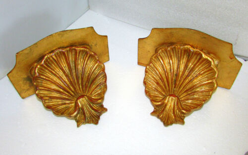 PAIR ITALIAN GILT LARGE SHELL BRACKET SHELVES FLORENTINE ITALY HOLLYWOOD REGENCY