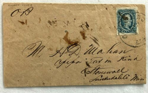 Civil War Confederate Turned Cover Envelope with 10c Stamp 1864 Columbus, Miss.