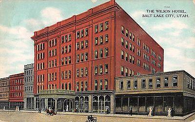 Utah postcard Salt Lake City The Wilson Hotel street scene