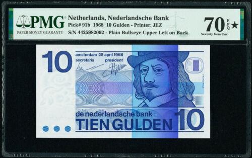 NETHERLANDS 10 Gulden 1968 Pick-91b SUPERB GEM UNC PMG 70 EPQ/STAR ( TOP GRADE )