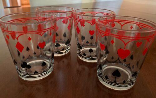Card Suits Schwartz Mustard Glasses Jars Set of 4 (Lot 2)