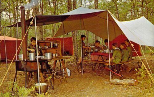 NY Narrowsburg TEN MILE RIVER BOY SCOUT CAMPS Mess Tent postcard BS1