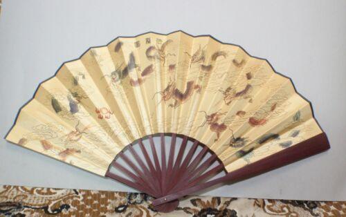 NEW Vintage 60cm x 33cm Wall Fan Wood Oriental Asian Box Hand Painted