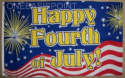 Fourth Of July Banner (3'x5' Happy 4th of July Fireworks Flag Celebration USA Party Fourth Banner)