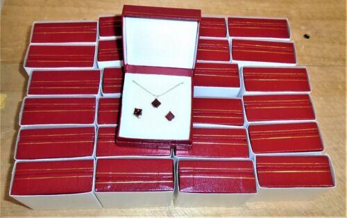 WHOLESALE LOT RED Square Garnet  Silver Stud Earrings/ Pendant Gift Sets