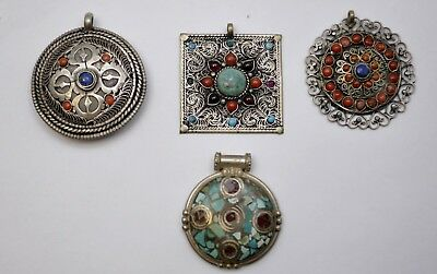 Lot of 4 Antique Tibetan Turquoise Coral Inlay Pendants