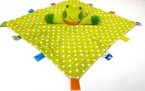 Taggies Green Frog Baby Security Blanket Satin Tags Velour White Polka Dot - $18.99