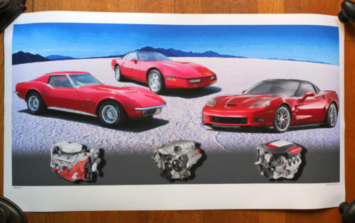 """Signed & Numbered Rodney Mann Red Pastel CORVETTE Print """"Three Generations"""""""