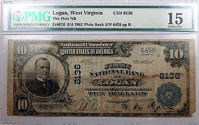 1902  10 Large Size National Bank Note Logan  West Virginia 8136 Ch Fine 15 Pmg