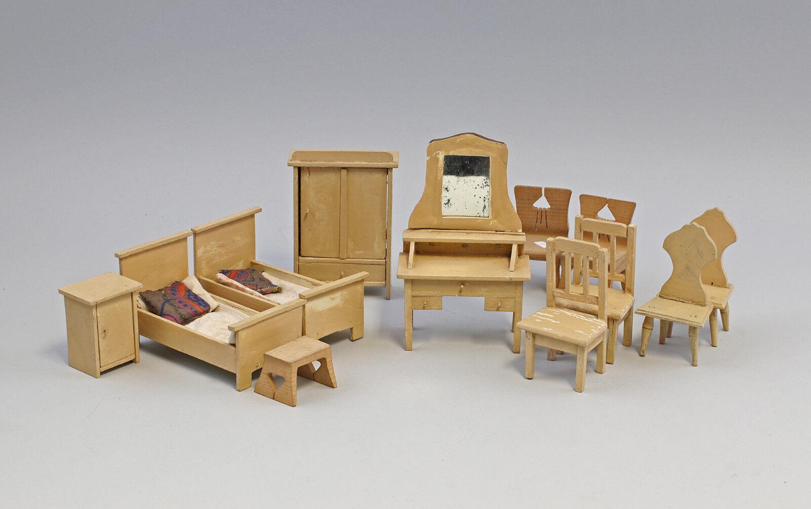 99810074 Casa di bambola mobili Camera letto Legno verniciato a 1920/30