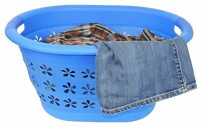 Collapsible Laundry Basket Hamper Folding Pop Up Plastic Silicone Rugged Blue Home & Garden