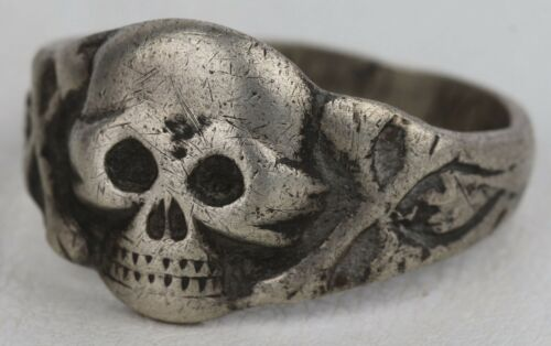 Memento Mori RING Double SKULL STERLING Silver 835 Amulet from death and disease