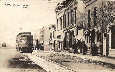 G34/ Hillsboro Wisconsin RPPC Postcard 1911 Main Street Trolley Stores (Hillsboro Stores)