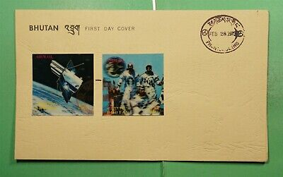 DR WHO 1973 BHUTAN FDC SPACE 3-D IMPERF COMBO AIRMAIL  g11389