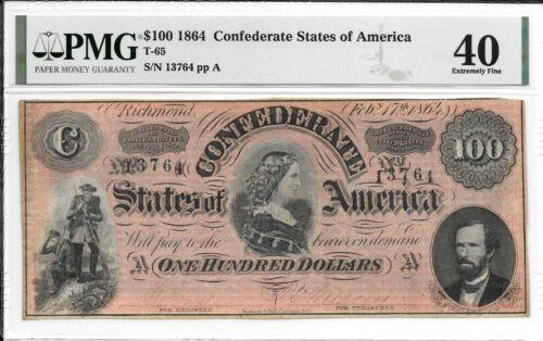 T65 PF-1 1864 $100 Confederate States of America CSA S/N 13764 PMG 40