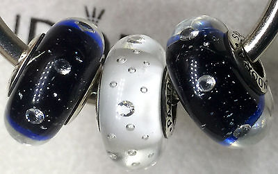 3X Authentic Pandora 925 ale  silver beads  charm DARK  blue CZ RED