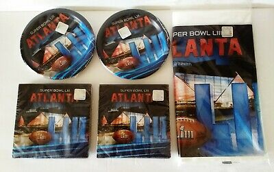 Super Bowl Party Supplies (Super Bowl NFL LIII Party Supply Kit Plates Napkins Football Tablecloth USA Made )
