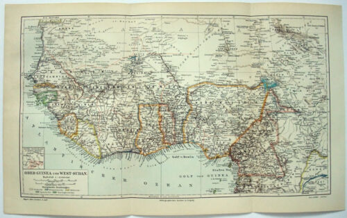 West Africa - Original 1906 German Map by Meyers. Antique