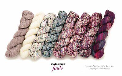 - Finito by Malabrigo - 100% XFine Merino Wool Plied Fingering Weight- 8 COLORS