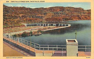 Twin Falls Idaho Raling Over Twin Falls Power Dam 1933 Postcard