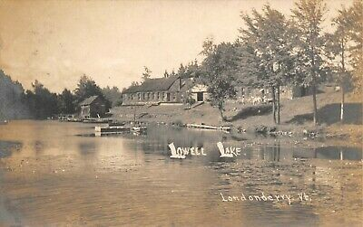 Cottages On Lowell Lake Boats Dock Scene  Londonderry,VT 1910's RPPC Postcard