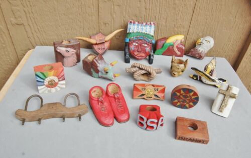 BSA Boy Scout America Vintage 1956 Hand Carved Wood Kerchief Slide Collection 17