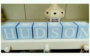 Shabby Chic personalised name letter baby christening wooden blocks gift