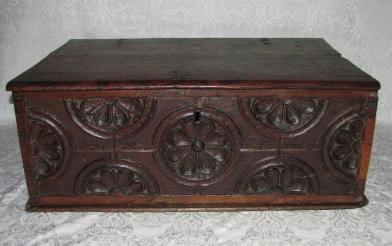 Antique English Oak Bible Box 17th Century