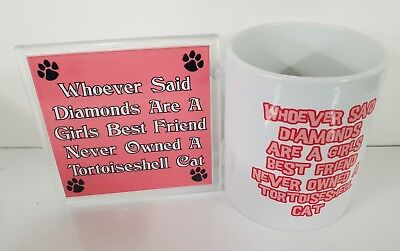 WHOEVER DIAMONDS GIRLS BEST FRIEND TORTOISESHELL CAT - Mug & Coaster Gift