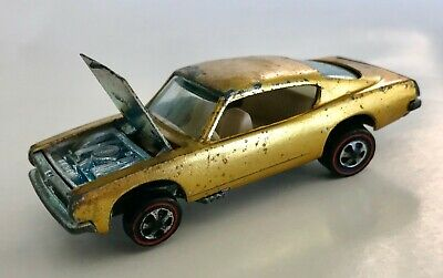 Vintage Hot Wheels Redline CUSTOM BARRACUDA 1968 USA in RARE GOLD w/ WHITE Int!!