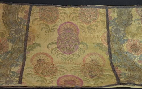 Antique 19th Century Metallic Silk Brocade Runner VV584
