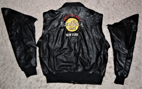 Hard Rock Cafe Leather Jacket/Vest XL New York Save The Planet Zip Off Sleeves