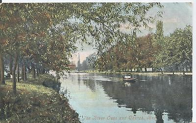 Postcard - The River Ouse and Church Bedford Bedfordshire posted 1908