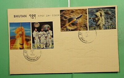 DR WHO 1972 BHUTAN FDC SPACE 3-D IMPERF COMBO PHUNTSHOLING  g11386