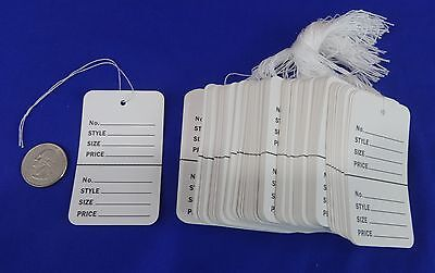 500 White Strung Garment Merchandise Price Tags Large