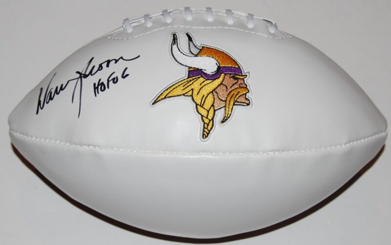 WARREN MOON signed (MINNESOTA VIKINGS) FULL SIZE LOGO football W/COA *PROOF*
