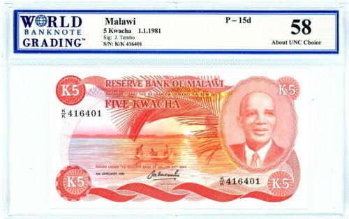 Malawi … P-15d … 5 Kwacha … 1981 ...* CHOICE AU-UNC *