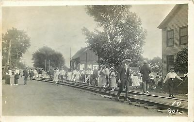 Festive Crowd Climbs All Over Railroad Tracks~Barn Posters~1910 Real Photo~RPPC