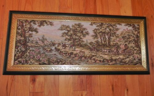 """Antique Woven Wall Hanging Tapestry 13""""x 37"""" - Horse Drawn Carriage - River"""