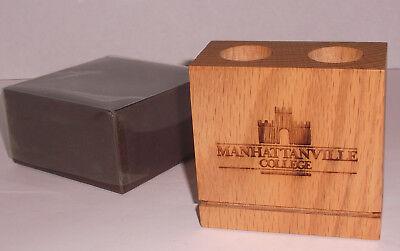Manhattanville College Solid Oak Wood Pen Holder Desk Caddy W School Logo