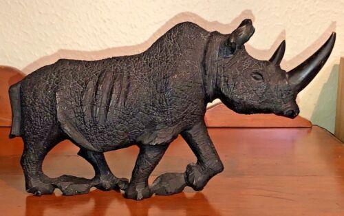 "LARGE 12"" Long HEAVY Resin Wild Animal Black Rhinoceros Figurine Statue NICE!!!!"