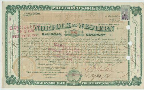 1888 Norfolk & Western Railroad Company Stock Certificate