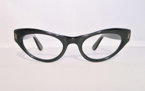 TRUE VINTAGE 1950s 60s DEADSTOCK BLACK CATEYE EYEGLASS FRAMES NOS CLASSIC 45mm