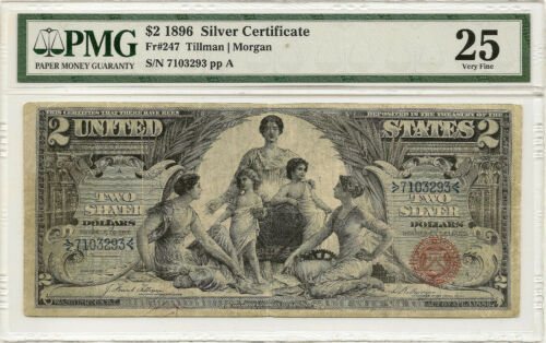 1896 $2 SILVER CERTIFICATE EDUCATIONAL ~ PMG VF25 ~ PRICED RIGHT!